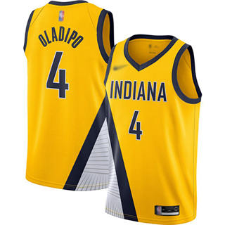 Men's Pacers #4 Victor Oladipo Gold Basketball Swingman Statement Edition 2019-2020 Jersey