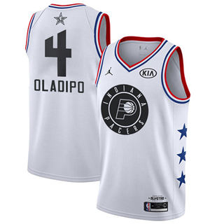 Men's Pacers #4 Victor Oladipo White Basketball Jordan Swingman 2019 All-Star Game Jersey