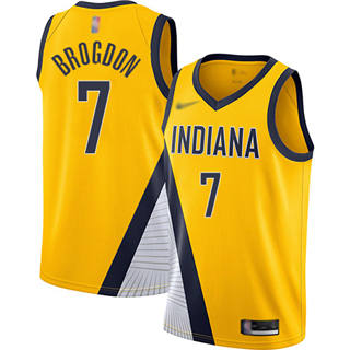 Men's Pacers #7 Malcolm Brogdon Gold Basketball Swingman Statement Edition 2019-2020 Jersey