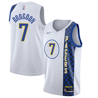Men's Pacers #7 Malcolm Brogdon White Basketball Swingman City Edition 2019-2020 Jersey