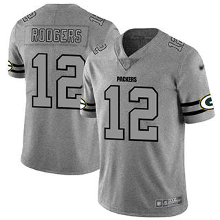 Men's Packers #12 Aaron Rodgers Gray Stitched Football Limited Team Logo Gridiron Jersey