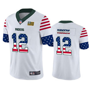 Men's Packers #12 Aaron Rodgers White Stitched Football Limited Independence Day Jersey