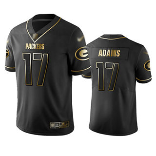 Men's Packers #17 Davante Adams Black Stitched Football Limited Golden Edition Jersey