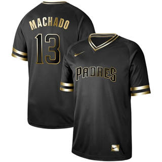 Men's Padres #13 Manny Machado Black Gold  Stitched Baseball Jersey