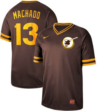 Men's Padres #13 Manny Machado Brown  Cooperstown Collection Stitched Baseball Jersey