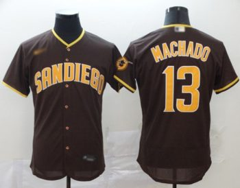 Men's Padres #13 Manny Machado Brown Authentic Home Stitched Baseball Jersey