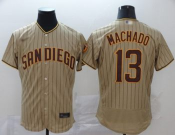 Men's Padres #13 Manny Machado Brown Strip Authentic Alternate Stitched Baseball Jersey