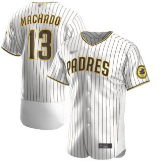 Men's Padres #13 Manny Machado White Strip Authentic Alternate Stitched Baseball Jersey