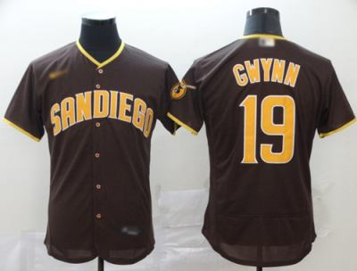Men's Padres #19 Tony Gwynn Brown Authentic Home Stitched Baseball Jersey