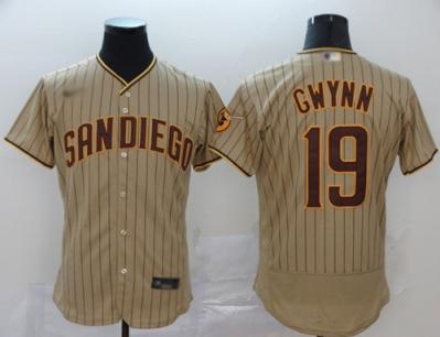 Men's Padres #19 Tony Gwynn Brown Strip Authentic Alternate Stitched Baseball Jersey