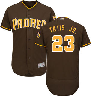 Men's Padres #23 Fernando Tatis Jr. Brown Flexbase  Collection Stitched Baseball Jersey
