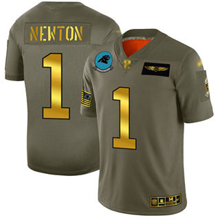 Men's Panthers #1 Cam Newton Camo Gold Stitched Football Limited 2019 Salute To Service Jersey