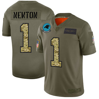Men's Panthers #1 Cam Newton Olive Camo Stitched Football Limited 2019 Salute To Service Jersey
