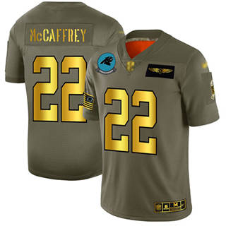 Men's Panthers #22 Christian McCaffrey Camo Gold Stitched Football Limited 2019 Salute To Service Jersey