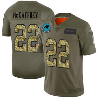 Men's Panthers #22 Christian McCaffrey Olive Camo Stitched Football Limited 2019 Salute To Service Jersey