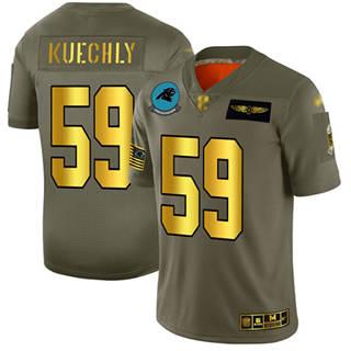 Men's Panthers #59 Luke Kuechly Camo Gold Stitched Football Limited 2019 Salute To Service Jersey
