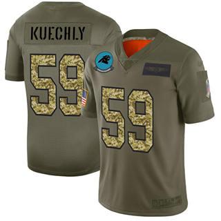 Men's Panthers #59 Luke Kuechly Olive Camo Stitched Football Limited 2019 Salute To Service Jersey