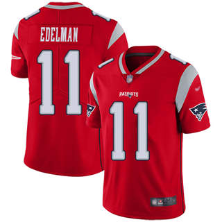 Men's Patriots #11 Julian Edelman Red Stitched Football Limited Inverted Legend Jersey