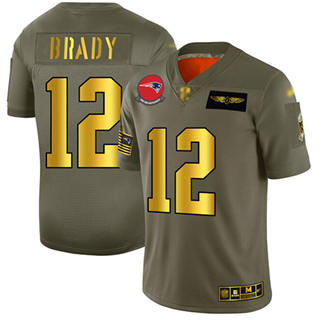 Men's Patriots #12 Tom Brady Camo Gold Stitched Football Limited 2019 Salute To Service Jersey