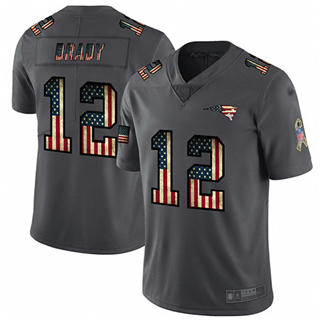 Men's Patriots #12 Tom Brady Carbon Black Stitched Football Limited Retro Flag Jersey