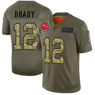 Men's Patriots #12 Tom Brady Olive Camo Stitched Football Limited 2019 Salute To Service Jersey
