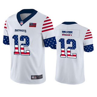 Men's Patriots #12 Tom Brady White Stitched Football Limited Independence Day Jersey