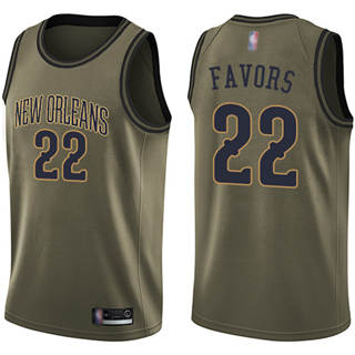 Men's Pelicans #22 Derrick Favors Green Basketball Swingman Salute to Service Jersey