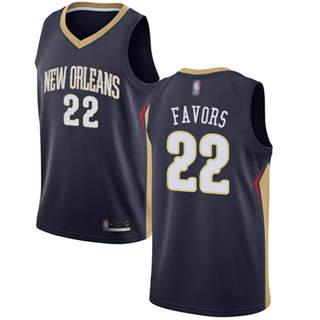 Men's Pelicans #22 Derrick Favors Navy Basketball Swingman Icon Edition Jersey