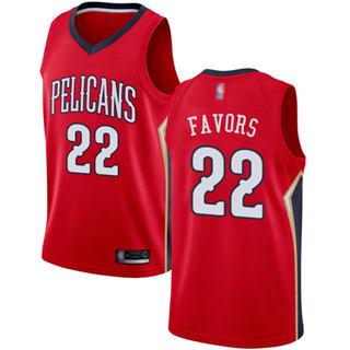 Men's Pelicans #22 Derrick Favors Red Basketball Swingman Statement Edition Jersey