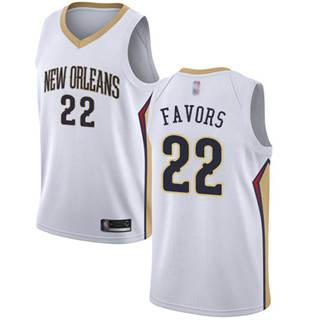 Men's Pelicans #22 Derrick Favors White Basketball Swingman Association Edition Jersey
