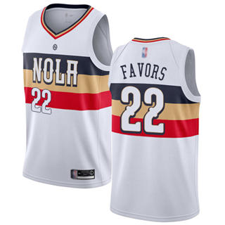 Men's Pelicans #22 Derrick Favors White Basketball Swingman Earned Edition Jersey