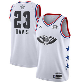 Men's Pelicans #23 Anthony Davis White Basketball Jordan Swingman 2019 All-Star Game Jersey