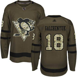 Men's Penguins #18 Alex Galchenyuk Green Salute to Service Stitched Hockey Jersey