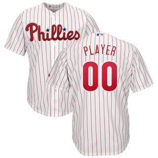 Men's Philadelphia Phillies Customized Home White Scarlet Cool Base Custom Baseball Baseball Jersey