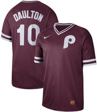 Men's Phillies #10 Darren Daulton Maroon  Cooperstown Collection Stitched Baseball Jersey