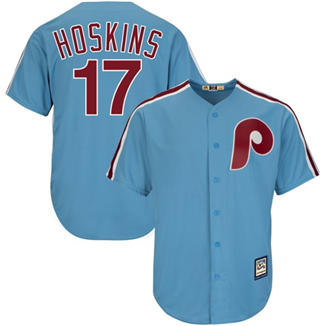 Men's Phillies #17 Rhys Hoskins Light Blue New Cool Base Cooperstown Stitched Baseball Jersey