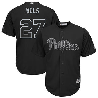 Men's Phillies #27 Aaron Nola Black Nols Players Weekend Cool Base Stitched Baseball Jersey