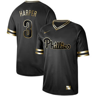 Men's Phillies #3 Bryce Harper Black Gold  Stitched Baseball Jersey