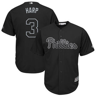 Men's Phillies #3 Bryce Harper Black Harp Players Weekend Cool Base Stitched Baseball Jersey