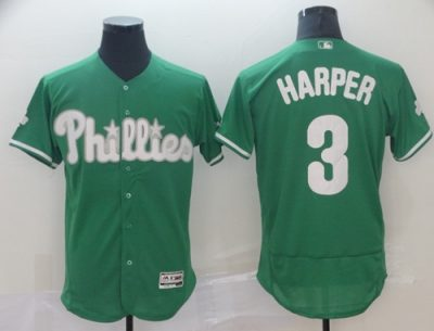 Men's Phillies #3 Bryce Harper Green Flexbase  Collection St. Patrick's Day Stitched Baseball Jersey
