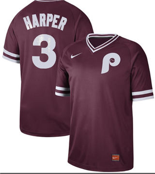 Men's Phillies #3 Bryce Harper Maroon  Cooperstown Collection Stitched Baseball Jersey