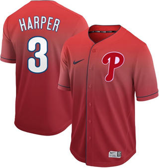 Men's Phillies #3 Bryce Harper Red Fade  Stitched Baseball Jersey