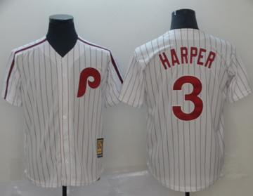 Men's Phillies #3 Bryce Harper White(Red Strip) New Cool Base Cooperstown Stitched Baseball Jersey