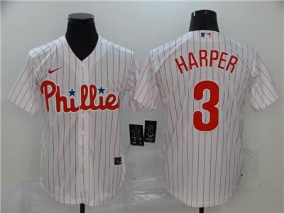 Men's Phillies #3 Bryce Harper White Strip 2020 Stitched Baseball Cool Base Jersey
