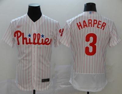 Men's Phillies #3 Bryce Harper White Strip Alternate Authentic Stitched Baseball Jersey