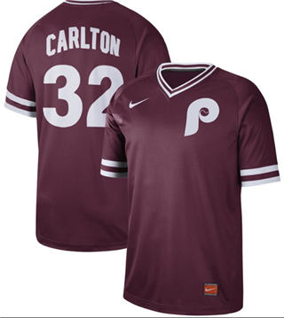 Men's Phillies #32 Steve Carlton Maroon  Cooperstown Collection Stitched Baseball Jersey