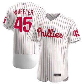 Men's Phillies #45 Zack Wheeler White Strip Alternate Authentic Stitched Baseball Jersey