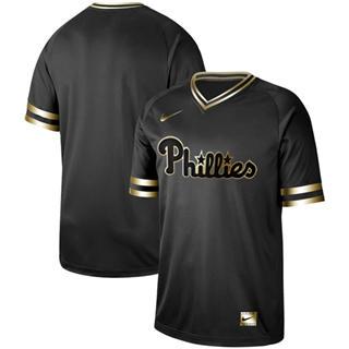Men's Phillies Blank Black Gold  Stitched Baseball Jersey