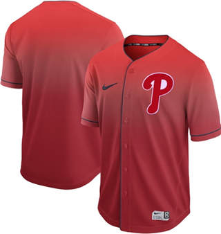 Men's Phillies Blank Red Fade  Stitched Baseball Jersey