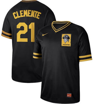 Men's Pirates #21 Roberto Clemente Black  Cooperstown Collection Stitched Baseball Jersey